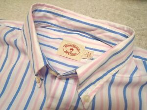 Brooks Brothers Red Fleece 100% Cotton Blue & Pink Stripe Sport Shirt NWT Large