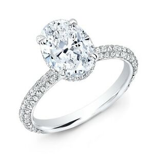 2.65 Ct. Oval Cut Diamond Micro Pave Engagement Ring HVS1 GIA 14K WG Under Halo