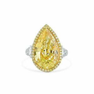 10.94 Ct Pear Cut Fancy Light Yellow Diamond Ring Natural 18K White Gold GIA New