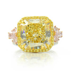 12.77 Ct Fancy Light Yellow Halo Diamond Ring Radiant Cut 18K White Gold GIA