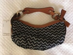 NEW WITH TAGS MISSONI CANVAS & LEATHER HOBO BAG PURSE CHEVRON PATTERN FREE SHIP