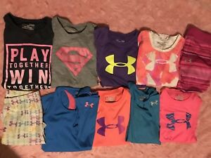 UNDER ARMOUR Lot 10 Heat Gear Pink Shirts Tanks Leggings Shorts Youth Large YL