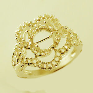 Semi Mount Round Cocktail Ring 7.00 MM Faceted Stone Setting Gold Women Jewelry