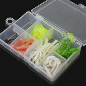 50x Assorted Soft Silicone Lures Fishing Tackles Baits Jig Head Hooks Box Case