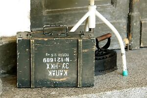 Wooden Military Box Vintage Green Army Storage Box Ammo Tool Wood Chest