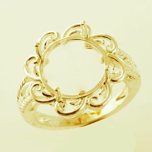 Cocktail Semi Mount Ring In Round Shape 12.30 MM Solid Gold Cab. Setting Jewelry