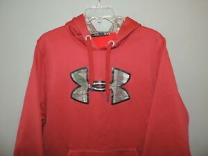Under Armour Storm Camo Logo Pullover Hoodie Mens Red Mint SZ Large Quick Ship