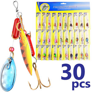3OT!Lot 30pcs Trout Spoon Metal Fishing Lures Spinner Baits Bass Tackle Colorful