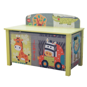 WOODEN TOY BOX KIDS JUNGLE ANIMAL THEMED CHILDRENS FUNKY BEDROOM FURNITURE Zoo