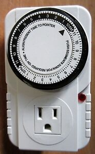 24 Hour Plug in Mechanical Grounded Programmable Timer Indoor Heavy Duty
