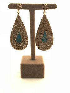 Turkish Handmade Jewelry Turquoise 925 Silver Woman Earring - 087