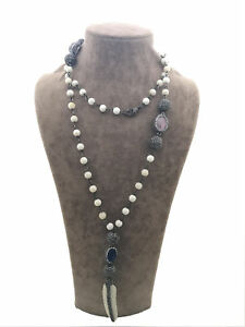 Turkish Handmade Jewelry Mother Of Pearl Quartz Bone Silver Woman Necklace 532