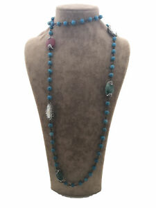 Turkish Handmade Jewelry Turquoise Pearl Quartz Silver Woman Necklace 35