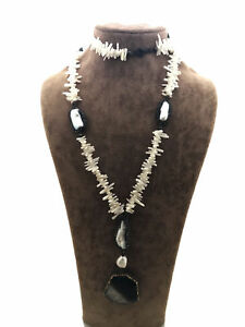 Turkish Handmade Jewelry Mother Of Pearl And Pearl 925 Silver Woman Necklace 514