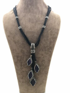 Turkish Handmade Jewelry Duruzit 925 SilverLeather Woman Necklace 17
