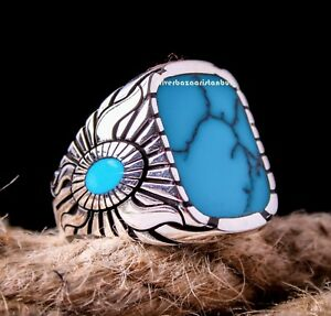 Solid Turquoise Stone Turkish Jewelry 925 Sterling Silver Mens Ring ALL SİZE 060