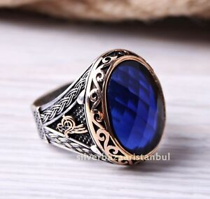 Turkish Jewelry 925 Sterling Silver Blue Sapphire Stone Mens Ring us ALL SİZE