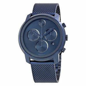 New Movado Bold Ink Blue Dial Chronograph Mesh Steel Bracelet Mens Watch 3600403