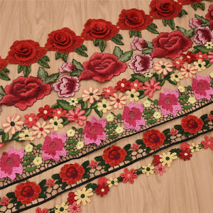 1 Yards Colorful Rose Flowers Polyester Lace Trim Embroidered Ribbon For Sewing