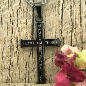 Philippians 4:13 Bible Verse Personalize Black Stainless Steel Cross Necklace
