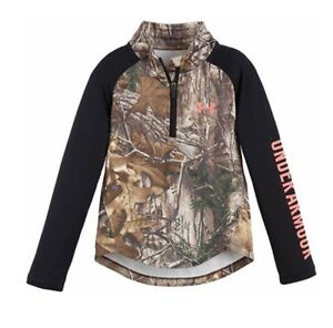 NEW UNDER ARMOUR GIRLS 4 REALTREE HUNT 14 ZIP PULLOVERTOP CAMOBLACK NWT UA