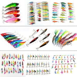19 Kinds Mixed Spinners Fishing Lures Pike Salmon Crank Baits Bass Trout