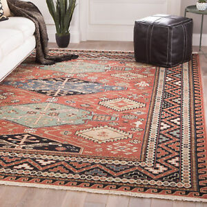 Millwood Pines Wickline Medallion Hand-Knotted Wool Red Area Rug