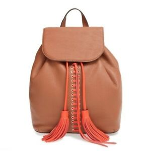 NWT Rebecca Minkoff Moto Lace Up Backpack Almond Poppy