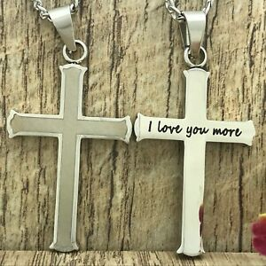 Men's Cross Necklace Personalize Black Stainless Steel Cross Necklace