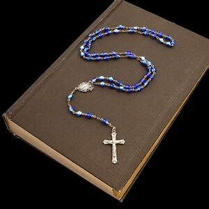 Antique Vintage Deco Sterling Silver Blue Crystal Glass Catholic Rosary Necklace