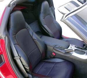 CHEVY CORVETTE C6 2005-2013 BLACK S.LEATHER CUSTOM MADE FRONT SEAT COVERS