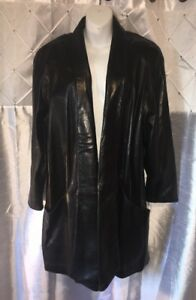 MAXIMA 34 Length Black Leather Shawl Collar Jacket Size Large