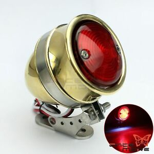 Retro Brass Bullet Brake Stop Taillight With Steel Bracket For Harley Old School