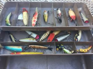 Old Union Metal Tackle Box with Wooden Lures Glass Eyes Vintage Fishing