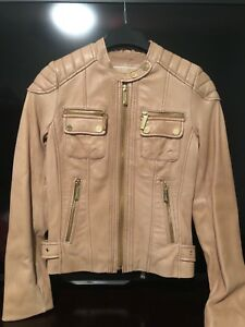 Michael kors Moto Tan Leather Jacket XXS
