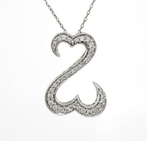 Jane Seymour Open Heart 14K White Gold 0.50ct 12ct Diamond Pendant Necklace 17