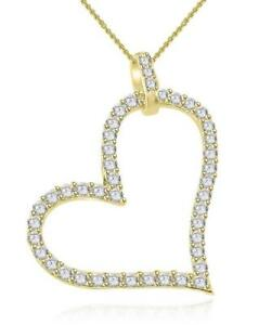 Heart Pendant Necklace Round Cut Diamond SI1 G 0.70 Ct 14K White Gold Appraisal