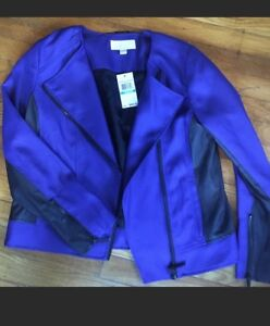 Michael Kors Zip-Front Moto Jacket Blue Azurite w Black Faux Leather Sz 8 $200