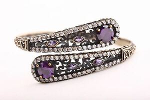 Awesome Hurrem! Turkish Jewelry Amethyst 925 Sterling Silver Bangle Bracelet