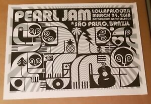 Pearl Jam Poster Sao Paulo 2018 Lollapalooza Show Edition Art by Pendleton