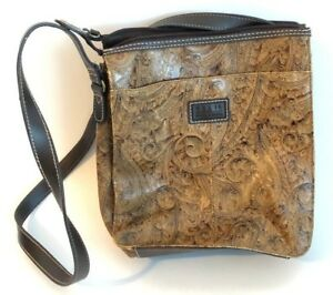 Vintage Relic Brown Paisley Embossed Tooled Leather Crossbody Purse