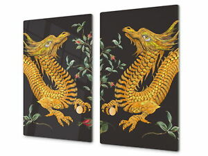 Glass Cutting Board amp;amp; Induction Hob Cover D13 yellow dragons $74.90