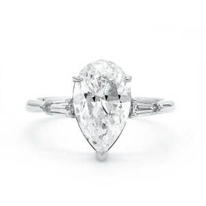 3.28 Ct Brilliant DIF Diamond Ring Classic Pear Cut Natural 18K White Gold GIA
