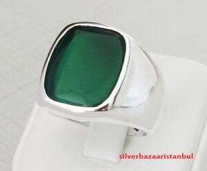 Emerald Stone Turkish Jewelry Handmade 925 Sterling Silver Mens Ring ALL SİZE 03