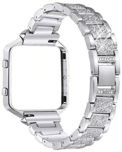 Fitbit Blaze Metal Replacement Band with Rhinestone Stainless Steel Silver Frame