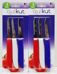 6x QUIKUT Paring Knives Knife Stainless Steel New Sealed MADE IN USA $11.49