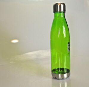 Reusable Plastic Water Bottle w/ Stainless Steel Trim (cap and bottom)