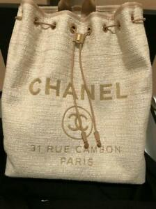 CHANEL BACKPACK WOMEN LADIES HIGH BRAND RARE BEIGE GOLD FASHION USED FROM JAPAN