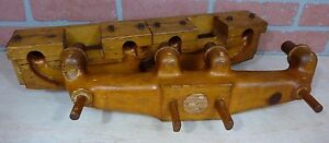 Orig Old AUTO TRUCK WOOD MANIFOLD FACTORY MOLD 2pc Decorative Art Sign V8 Engine