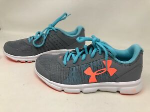 New! Youth Girls' Under Armour Running Shoes GrayBlueCoral 1302354-035 8T